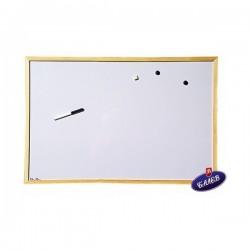 Дъска бяла магнитна 60х90 дървена рамка