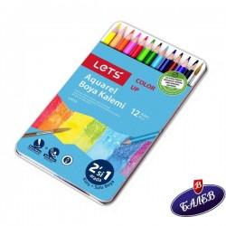 LETS Акварелни моливи 12цв. мет.кутия L-4712