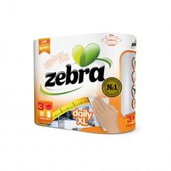Zebra Кухненска ролка Daily XL, трипластова, 100% целулозна, 2 броя